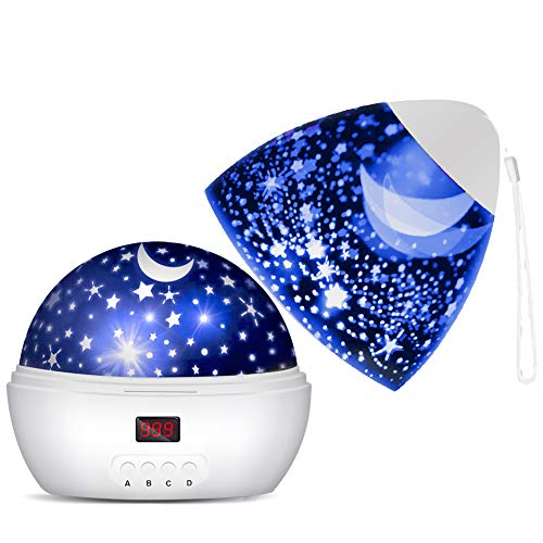DSAATN Star Projector Light for Bedroom with Super Timer, Toys for 1 2 3 4 5 6 7 8 9 10 Year Old Girls & Boys Toys Age 1-10 Stars & Moon Make Child Sleep Peacefully Kids Night Light Best Gift- White
