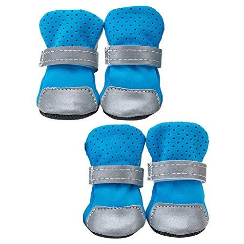 Zapatos para perros 4er Pack Hund Stiefel Pfotenschutz Anti Rutsch Atmungsaktiv Weiche Haustier Schuhe Mit Riemen for Kleine Hundewelpen Katzen (Color : Blau, Size : M)