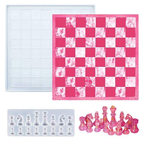 Juego de moldes de resina para tablero de ajedrez, molde de silicona para ajedrez, molde para fundición de arte de resina DIY, molde de ajedrez de resina epoxi para niños y adultos