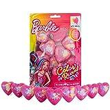 Barbie Bombas de Baño para Niñas, Set de Bombas de Baño Espuma con Forma de Corazon y Colores de Arco Iris, Bolas de Baño Originales