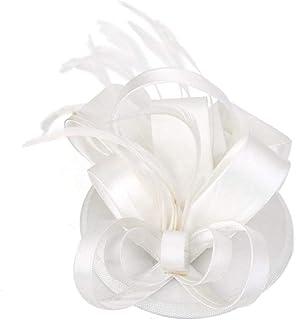 Flyme Elegant Women Feather Satin Cocktail Sinamay Fascinator Party Hair Clip Bridal Headwear,Creamy White