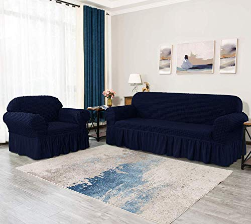 JRUE Stretch Couch Covers Anti-Slip Washable Universal Sofa Slipcovers 1/2 / 3 Seater Jacquard Furniture Protector Cover with Large Skirt for Dogs Cats Anti-Mite,Navy,Chair