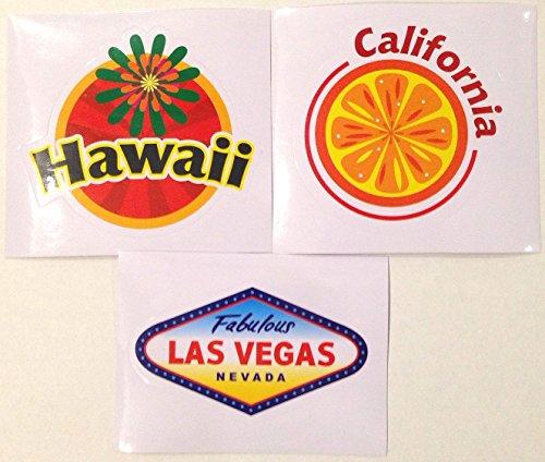 アメリカ合衆国旅行ステッカー/防水シール 3種類セット(カリフォルニア・ラスベガス・ハワイ) スーツケースカスタマイズ用