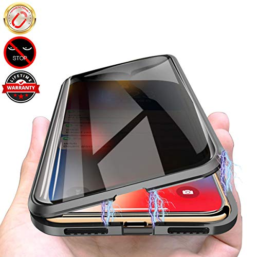 Privacy Magnetic Case for iPhone 11, Anti Peeping Clear Double Sided Tempered Glass [Magnet Absorption Metal Bumper Frame] Thin 360 Full Protective Phone Case for iPhone 11 6.1'' Black