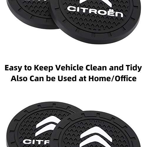 AOOOOP Car Interior Accessories for Citroen Cup Holder Insert Coaster - Silicone Anti Slip Cup Mat for Citroen C1 C3 C4 C5 BERLINGO (Set of 2, 2.75
