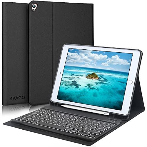 KVAGO Custodia con Tastiera per iPad 8a/7a Generazione (10.2 Pollici, 2020/2019 Modello) - Cover con Supporto per Pencil e Tastiera Bluetooth Staccabile per iPad 10.2/Air 3a Gen/Pro 10.5, Nero