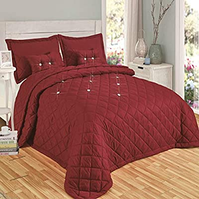 Modern Quality 5 Piece Diamond Quilted Reversible Bedspread Comforter Bedding Set