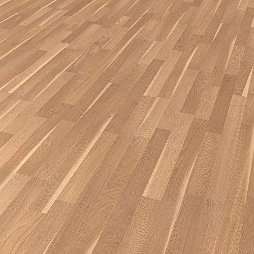 Laminatboden TRECOR® 8 mm Stark, Klicksystem, NK AC4/32 - Garantie 20 Jahre - Format: 1285 x 190 mm - Fußbodenheizung geeignet - Sie kaufen 1 m² (Laminatboden | 1 m², Eiche Splint Beige)