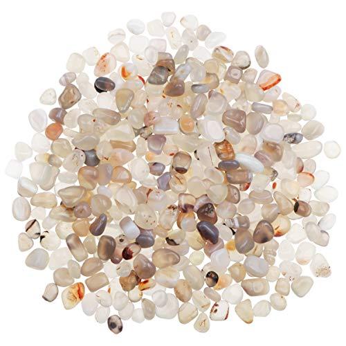YiYa Bianco Pietra di Agata Ghiaia Pietra Gemma Quarzo Cristallo Naturale Usato per la Decorazione Domestica Vaso Riempito Piscina Piante in Vaso Decorazione (Circa 310 g/Borsa)