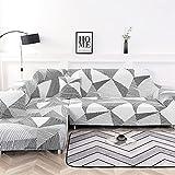 NIBESSER - Funda elástica para sofá de 2 piezas esquinero con chaise longue en forma de L, lavable, con motivos modernos, para salón (Geometría blanca, 2 plazas + 2 plazas)