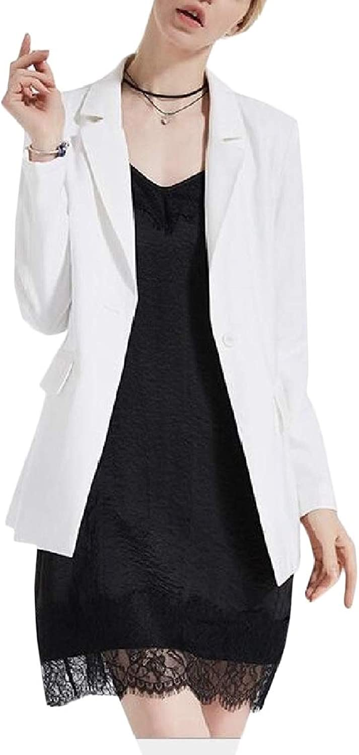 EtecredpowCA Womens Business Coat One Button Formal Slim Blazer Jackets