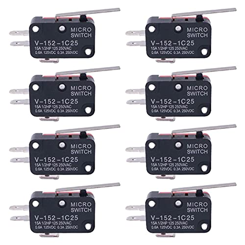 DXFFOK 8pcs SPDT 1 NO 1 NC Tipo de Palanca de bisagra Interruptor de límite Micro Miniatura