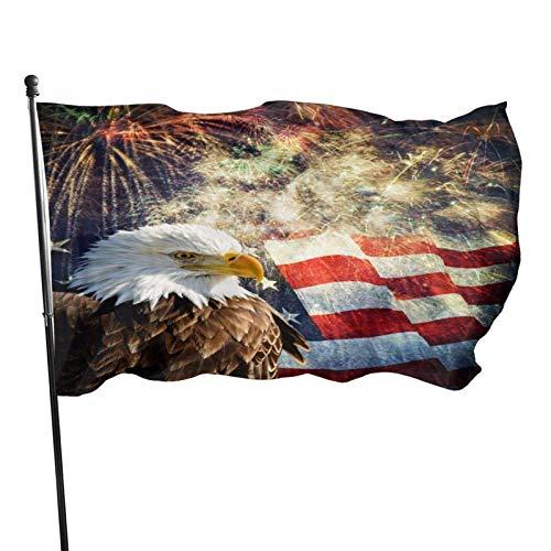 Bandera americana del águila calva Bandera patriótica de fuegos artificiales Bandera decorativa al aire libre de 3 x 5 pies Bandera estándar colgante exterior