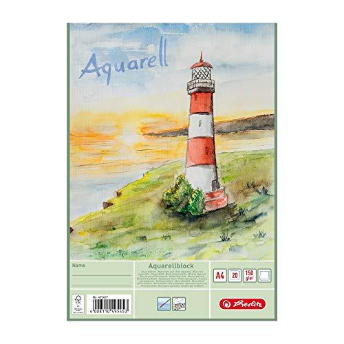 Herlitz 495457 papel de acuarela, cartulina de acuarela, A4, 150 g / qm, 20 hojas, 3 piezas