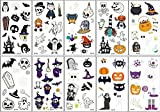 Wandefol 10pcs Pegatina Halloween, Tatuaje Luminoso, Tatuaje Halloween, Maquillaje Halloween, Tatuaje Fosforescente para Fiesta Halloween Cosplay Brujo Calabaza Araña Cráneo Fantasma Esqueleto