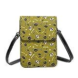 Bandolera pequeña para mujer, diseño vintage de calaveras y arañas, color verde