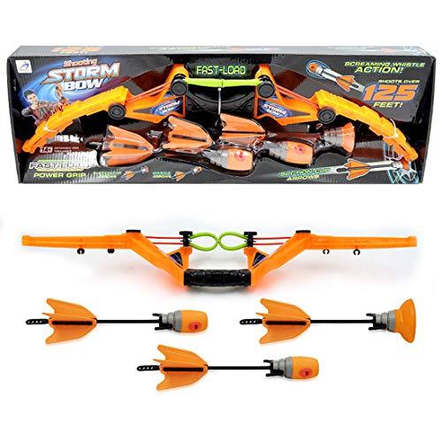 LuoKe Bogenschießen Stellen Sie Orange EIN Outdoor-Sportarten Elastisch weich Saugnapf Pfeife Simulation Pfeil und Bogen für Kinder