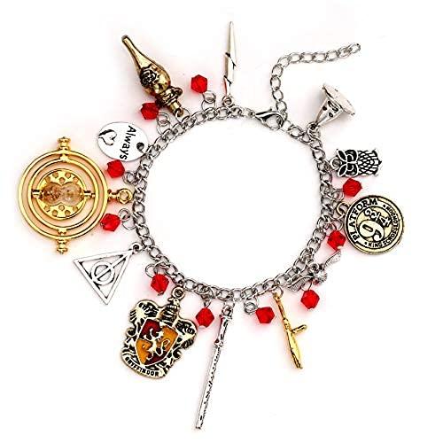 Pulsera de amistad de Harry Potter Time Turner con diseño de amuletos de 8 pulgadas para adolescentes y mujeres, de calidad