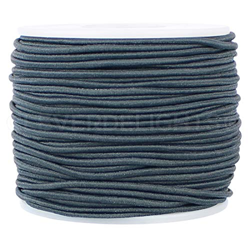CleverDelights 2mm (1/16') Elastic Cord - Charcoal Gray - 150 Feet