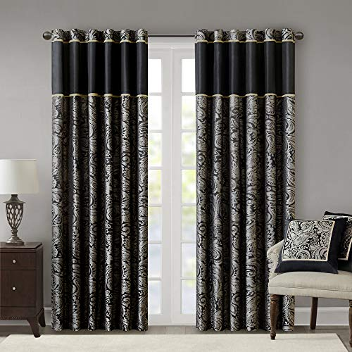 """Madison Park Aubrey Faux Silk Paisley Jacquard, Rod Pocket Curtain With Privacy Lining For Living Room, Kitchen, Bedroom and Dorm, 50"""" x 95"""", Black"""