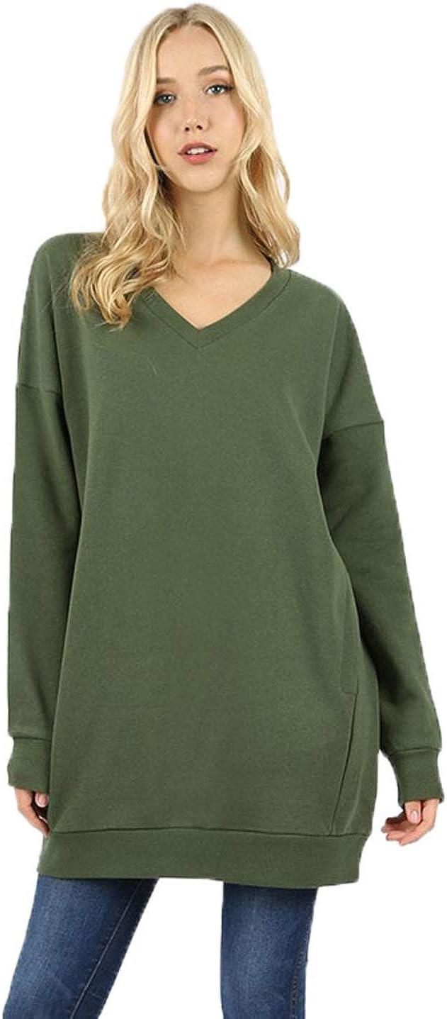 Monogrammed Zenana Oversized  Vneck tunic sweatshirt