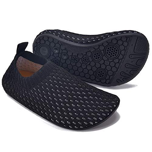 MARITONY Kinder Hausschuhe Mädchen Jungen Anti-Rutsch Leichte Sohle Kleinkinder Schuhe Baby Slipper Unisex,Schwarz,28EU