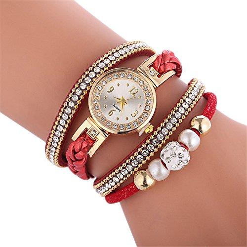 Lukame - Reloj de pulsera para mujer, estilo retro, vintage, redondo, cuarzo, esfera con brillantes, pulsera (C)