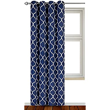 Printed Blackout Room Darkening Color Block Grommet Curtain Panel 52 Inches wide by 84 Inches Long - Decorative Curtains - by Utopia Bedding (Printed Navy)