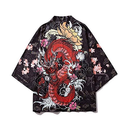 Kimono Tradicional Japones, Kimono Cardigan para Hombres, Japonés Masculino Yukata para Hombres Haori Japonés Samurai Kimono Shirt Hombres Ropa Tradicional Japonesa,Black-L