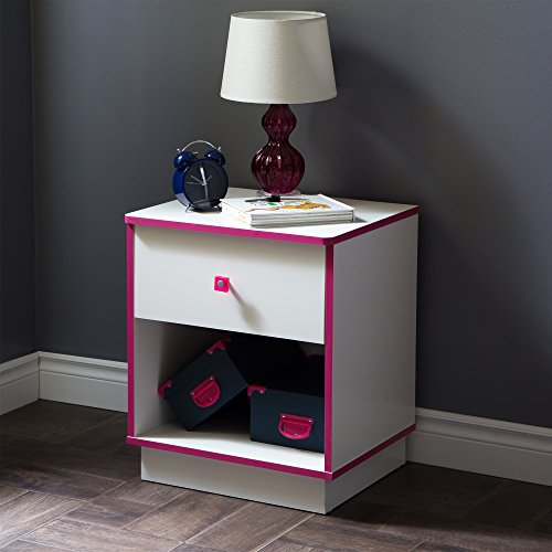 South Shore Logik 1-Drawer Nightstand, Pure White/Pink with Metal Handle