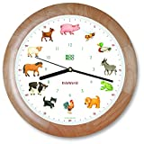 KOOKOO KidsWorld Wood, Wall Clock for Children with Natural Sounds, 12 Farm Animals