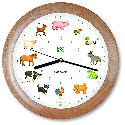 KOOKOO KidsWorld Holz, Wanduhr echte Tierstimmen, Bauernhofuhr mit 12 Tieren vom Land, Illustrationen Monika Neubacher-Fesser, Tieruhr mit Lichtsensor