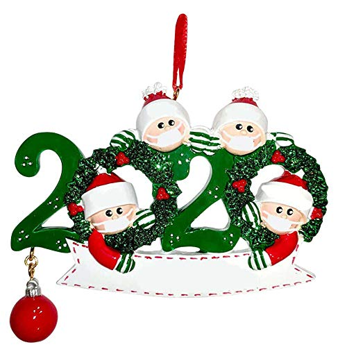 Christmas Family Ornament 2020 Christmas Tree Hanging Decoration Xmas Personalized Pendant (Four People Style)