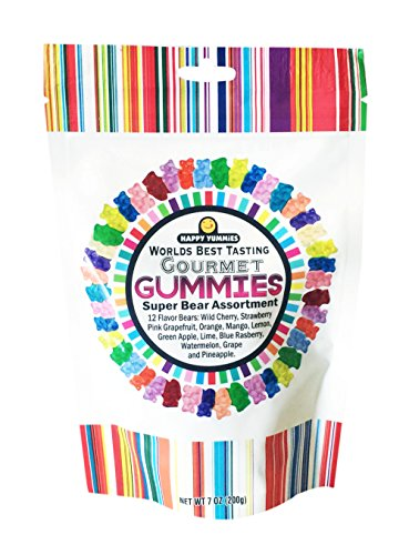 Happy Yummies Super Assortment Worlds Best Tasting Gummies 7oz (Gourmet 12 Flavors Gummy Bears)