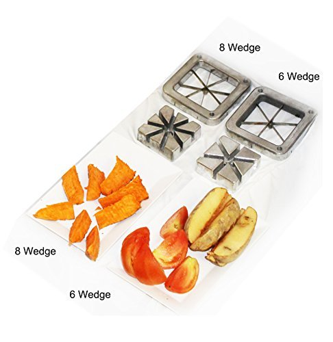 Tiger Chef Heavy Duty Commercial Grade French Fry Cutter Replacement Blades Set includes 6 and 8 Wedge Blades and Pusher Blocks- Compatible with Winco, Thunder Group, Weston and major brands