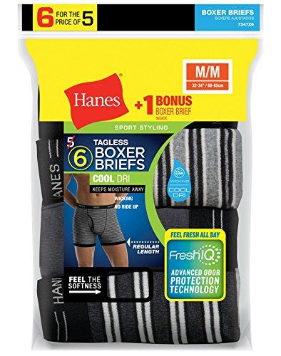 Hanes Men`s FreshIQ ComfortSoft 6Pack Boxer Briefs 7347Z6 XL Assorted