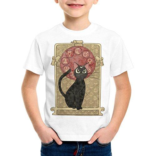 style3 Luna T-Shirt pour Enfants Moon Pierre de Lune Japon Sailor Chat, Taille:128