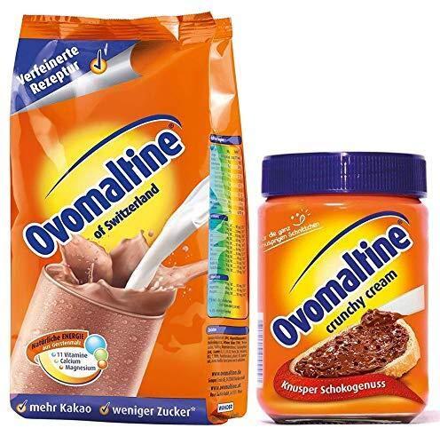 Ovomaltine Pulver Original 500g + Crunchy Creme Brotaufstrich ohne Palmöl 380g (Set)