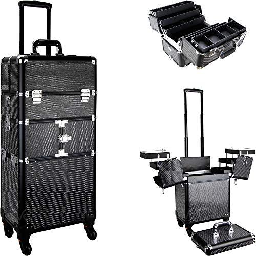 of makeup case professionals SunRise De Mezo 2-In-1 Rolling Makeup Case Professional Nail Travel Organizer Box, Black Krystal, 24 Pound (SI3464KLAB)