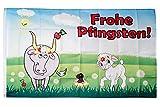 Flaggenfritze® Flagge/Fahne Frohe Pfingsten mit Lamm und Kuh - 90 x 150 cm