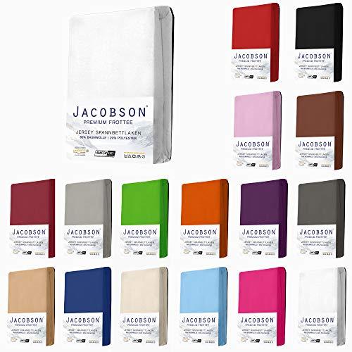 Jacobson Premium FROTTEE Spannbettlaken Spannbetttuch Bettlaken Baumwolle ca. 200g/m² (90x200cm - 100x200cm, Weiss)