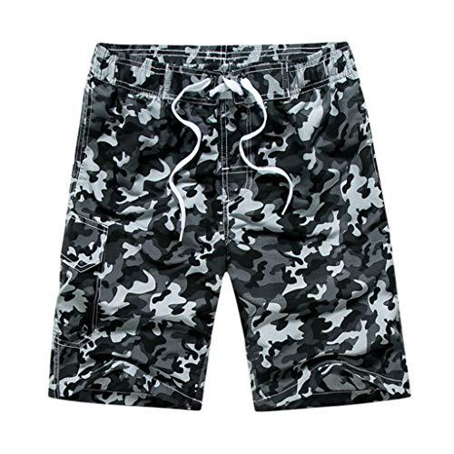 Yowablo Hosen Männer Casual Camouflage Printing Strandtasche Surfen Schwimmen Lose Short (M,Grau)