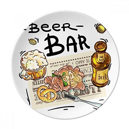 DIYthinker Beer Bar Gourmet Pain France Porcelaine décorative Assiette à Dessert 8 Pouces Dîner Accueil Cadeau 21cm diamètre Multicolor