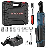 S-LONG 3/8' Cordless Ratchet Wrench 12V Power Electric Wrench Driver with 10 Sockets 2000mAh Lithium-Ion Battery and Charger