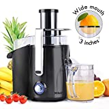 Centrifugal Juicer Machine - Juice Maker Extractor,Juice Processor Fruit and Vegetable,Easy to Clean Stainless Steel Power Juicer,Dual Speed,Big Mouth 3 Inches Feed Chute,Anti-drip,BPA Free (Black)