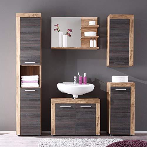 trendteam smart living Badezimmer 5-teilige Set Kombination Cancun Boom, 175 x 184 x 34 cm in Nussbaum Satin (Nb.) mit viel Stauraum kaufen  Bild 1*