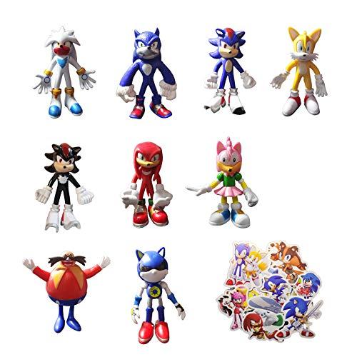 XINSHENG Sonic Toys 9pcs/set Figura de acción Sonic The Hedgehog Figurines colección