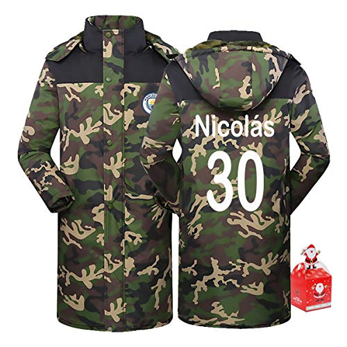 Manchester City Nicolás Otamendi 30# Men's Long Cotton Coat Thick Camouflage Warm Hoodie,Couple Clothes Winter Youth Gift XS-5XL (Color : A, Size : XX-Large)