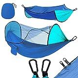 GUOXIANG Hamaca con mosquitera, para exteriores, antirodador, portátil, doble tienda de campaña para mosquitos, transpirable, paracaídas, hamacas para camping, senderismo, viajes, color azul