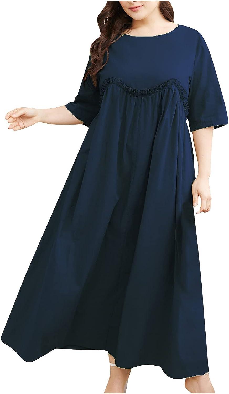 Summer Plus Size Dress For Women O Neck Sundress Solid Cotton Linen Beach Dress Short Sleeve Maxi Prom Dress Casual Gown